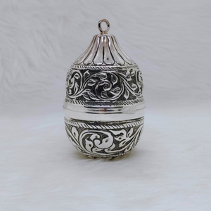 Pure silver nariyal in antique carvings for p