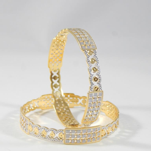 22kt yellow gold clefted dazzle bangles for w