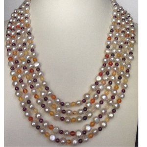 Freshwater cream button pearls 5 layers neckl