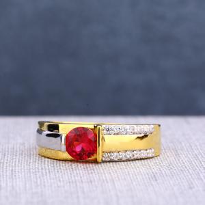22kt single gold  stylish men's stone ring ms