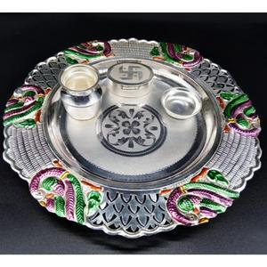 99.9 pure silver pooja thali
