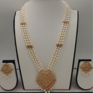 White, golden cz and pearls exclusive pendent