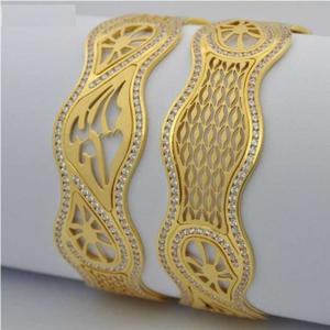 916 gold laser cnc cz stone designer bangles