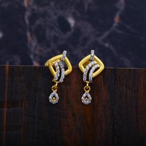 Ladies cz gold earrings-lfe15