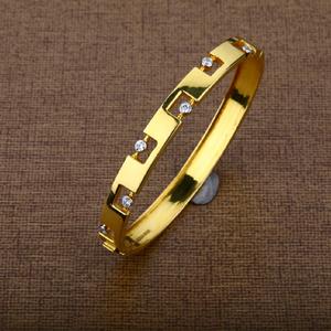 Mens 18k designer gold kada bracelet-mkb01