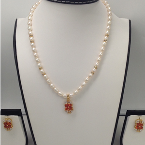 White and brown cz pendentset with ovalpe