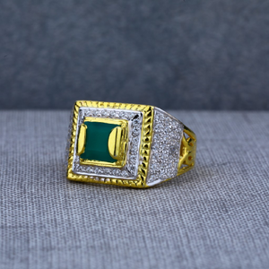 Mens green stone designer daily wear 916 gold