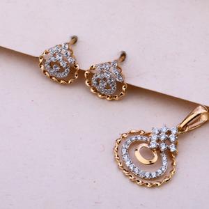 750 rose gold women's classic pendant set rps