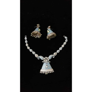 92.5 sterling silver delicate colorful neckla