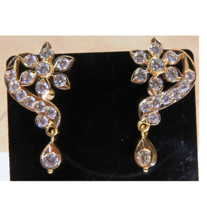 22kt gold close setting cz fancy earrings for
