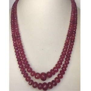 Natural red rubies round graded beeds 2 layer