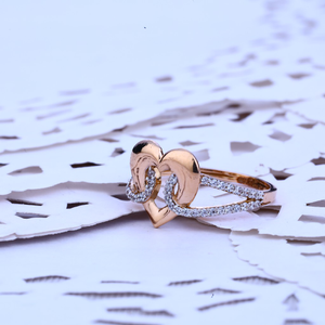 Ladies rose gold 18k cz ring-rlr142