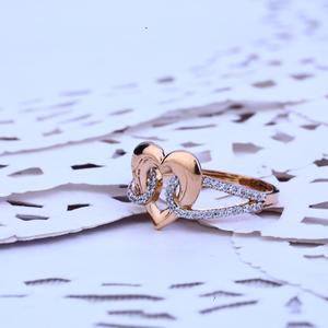 Ladies rose gold 18k cz ring-rlr142