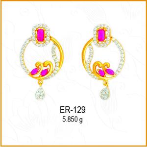 22kt designing cz gold round earring er-129