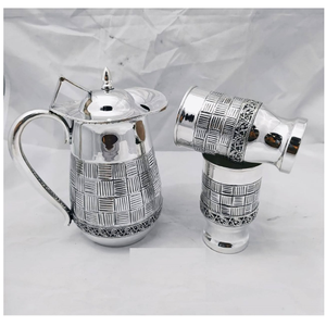 Pure silver jug and glasses set in antique fi