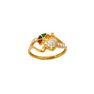 22k gold heart shaped meenakari ring - lrg028