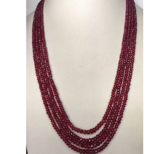 Natural red ruby faceted round beeds 4 layers