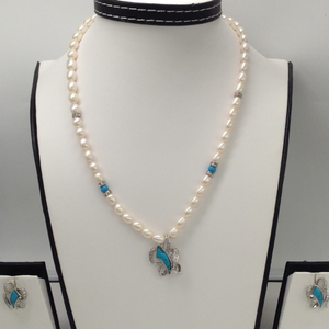 White cz and turquoise pendent set with oval