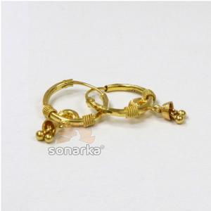 22kt gold ladies bali dull earrings by sonark