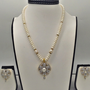 White cz and pearls pendentset with 1line