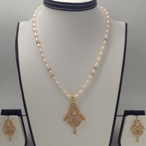 White cz pendent set with oval pearls mala