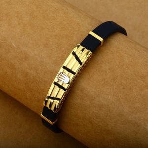 Mens leather gold bracelet-mlb26
