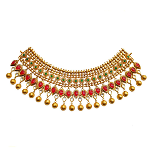 22k gold antique bridal choker necklace set -