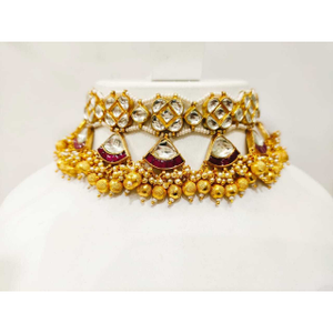 Antique gold plated kudan choker set with whi