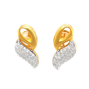 Gold and diamond petal design in pave setting