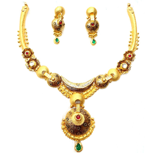 916 gold antique necklace set mga - gn025