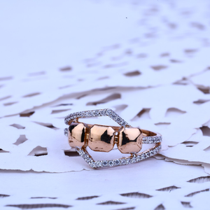 Ladies rose gold cz 18k fancy ring-rlr190