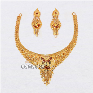 22kt plain gold necklace set for ladies