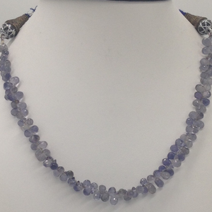 Natural blue iolite faceted drops mala
