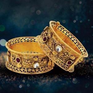 916 gold antique wedding kada bj-b007