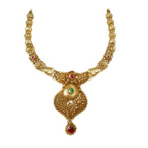 916 gold antique necklace set mga - gn022