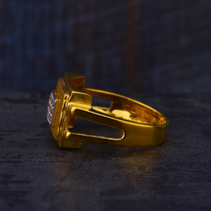 22kt gold designer cz hallmark mens ring mr52