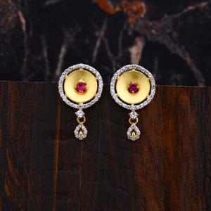 Ladies gold 916 cz earrings-lfe119