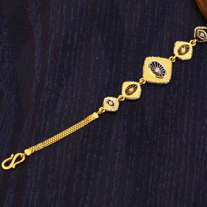916 gold ladies plain delicate bracelet lb345