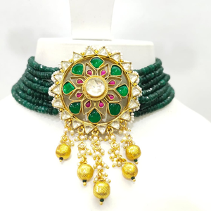 Chokker with green moti mala and hanging bold