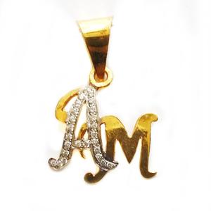 22k gold stylish am monogram pendant mga - mg