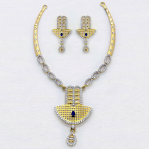 916 gold attractive cz necklace set sk-n011