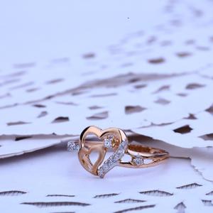 Rose gold ladies 18k heart ring-rlr169