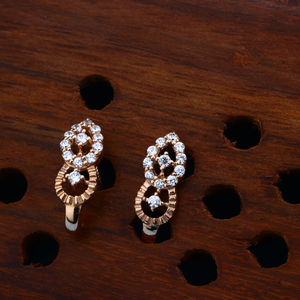 18kt cz rose gold delicate earring design for