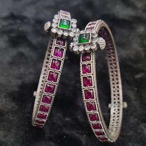 Puran enchanting ruby studded temple bangles
