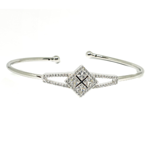 Cz diamond 925 sterling silver square shaped