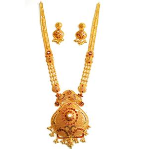22k gold rajwadi long necklace set mga - gls0
