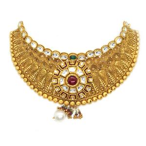 916 gold antique bridal necklace set rhj-3383
