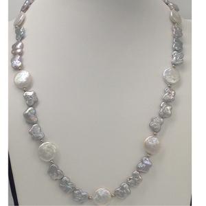 Freshwater grey butterfly baroque pearls mala