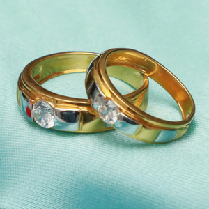 916 gold fancy couple bands pj-r010