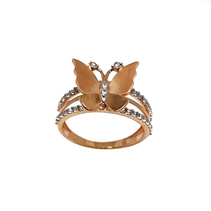 18k rose gold butterfly shaped designer ring